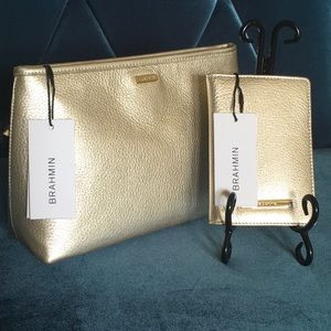 Brahmin Sloan clutch & Passport case Moonlite NWT